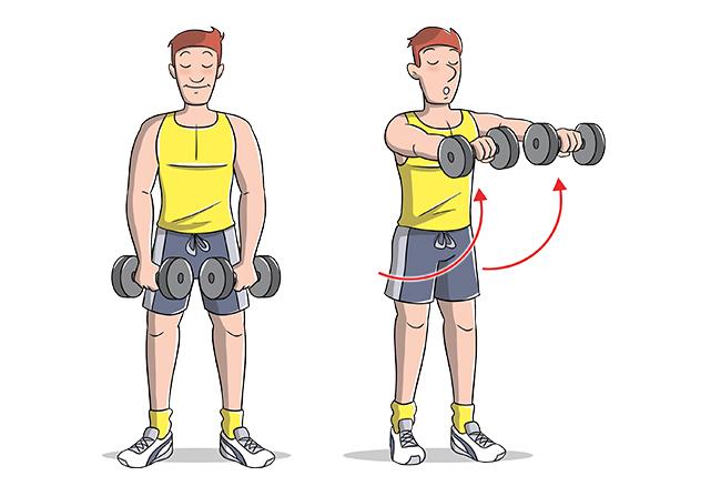 Ejercicios frontales con hombros levantados
