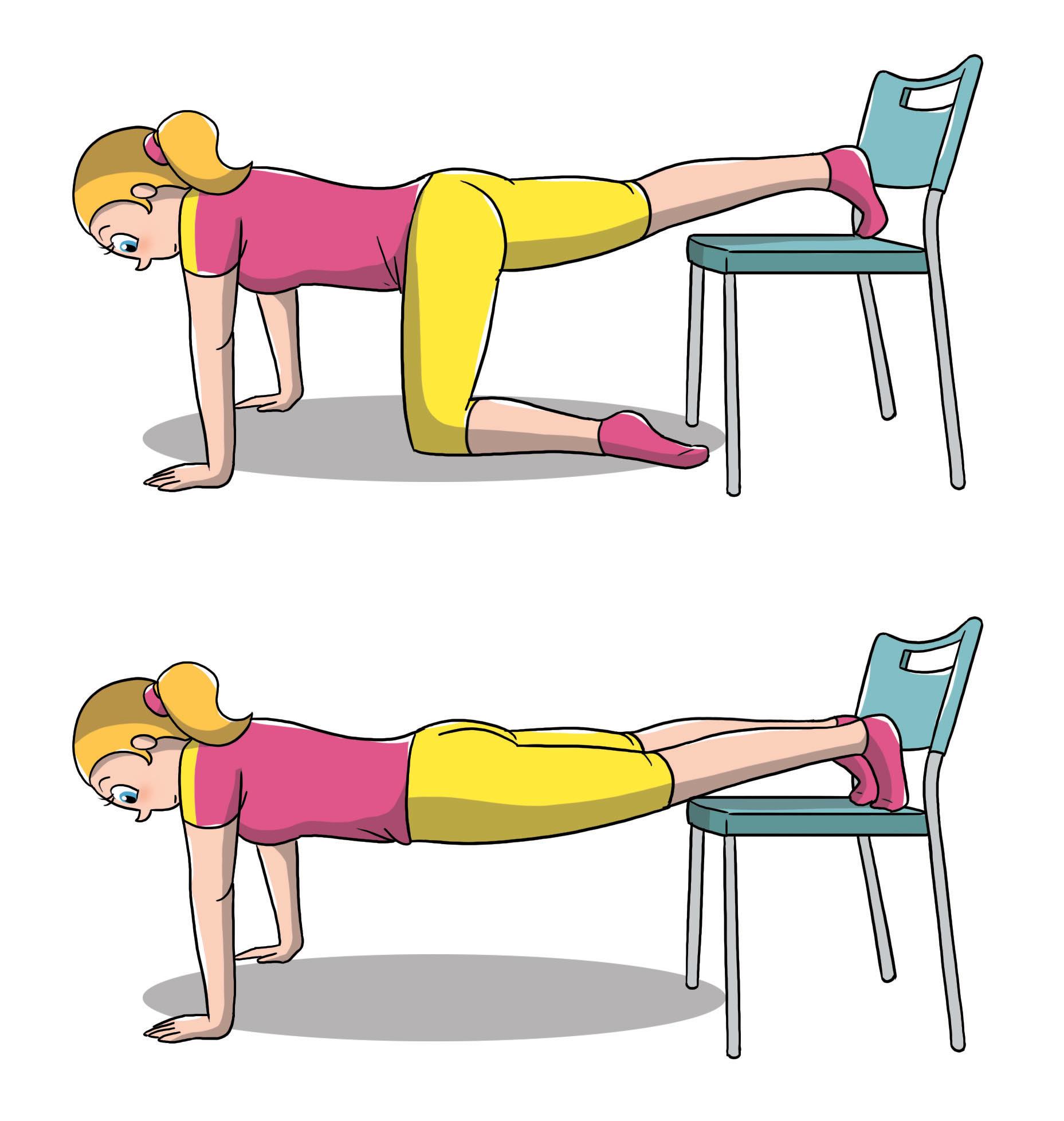 ejercicios de silla abdominal: flexiones