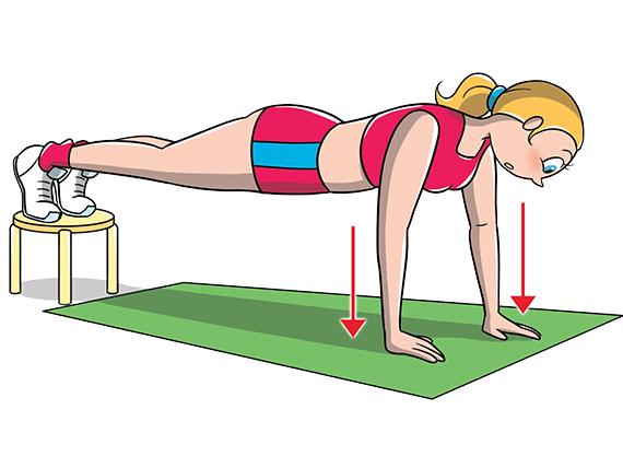 ejercicios de pecho: flexiones elevadas