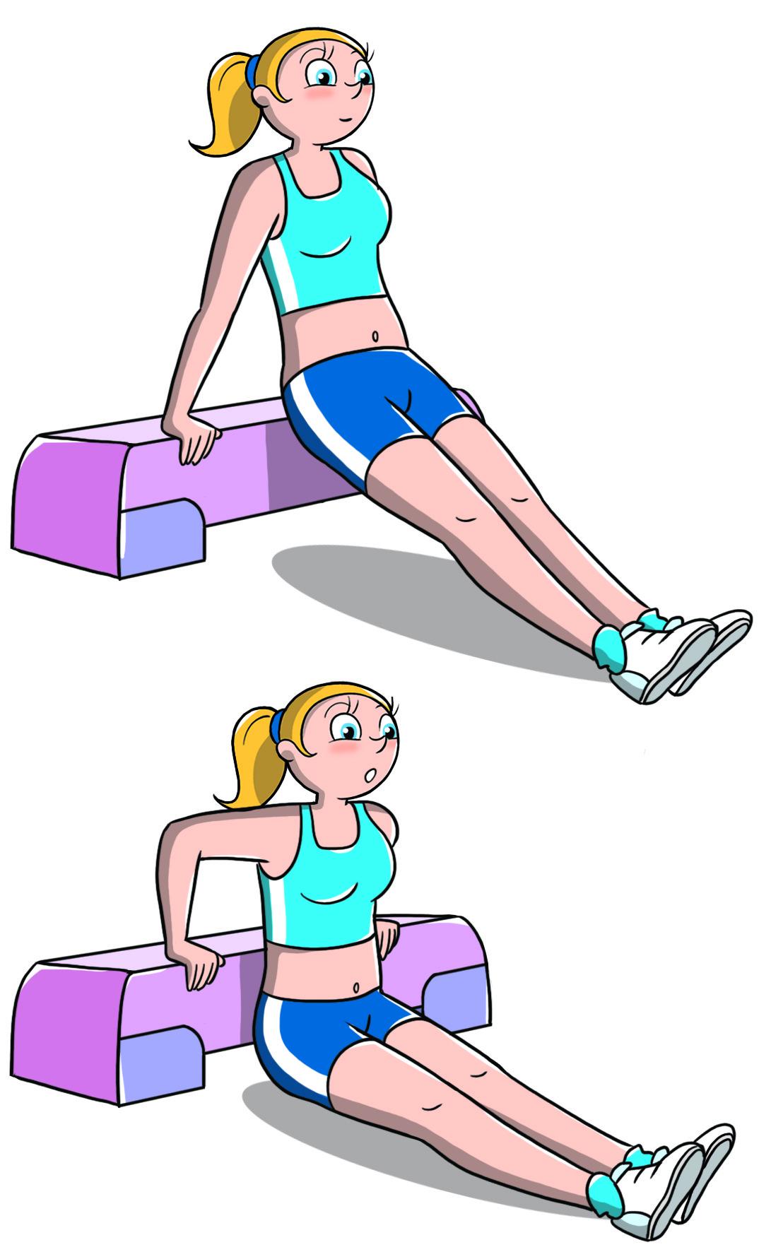 entrenando con el paso de tríceps